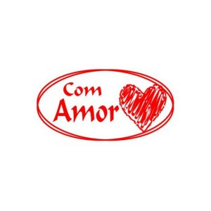 Etiqueta Adesiva Com Amor - 100 unidades - Rizzo Embalagens