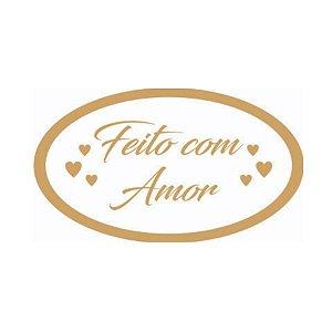 Etiqueta Adesiva Feito com Amor - 100 unidades - Rizzo Embalagens