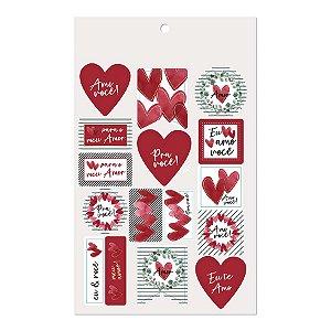 Cartela Adesiva Amo Você - 32 etiquetas - Cromus - Rizzo Embalagens