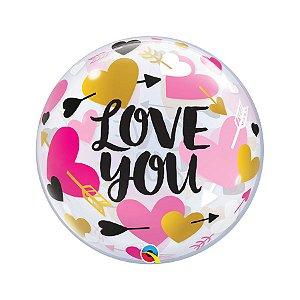 """Balão de Festa Bubble 22"""" - Love You Coração - 01 Unidade - Qualatex - Rizzo Embalagens"""