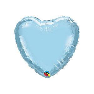 """Balão de Festa Microfoil Coração 18"""" 45cm - Azul Claro Perolado - 01 Unidade - Qualatex - Rizzo Embalagens"""