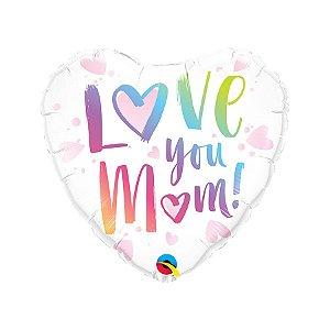"""Balão de Festa Microfoil 18"""" - Coração Love You Mom - 01 Unidade - Qualatex - Rizzo Embalagens"""