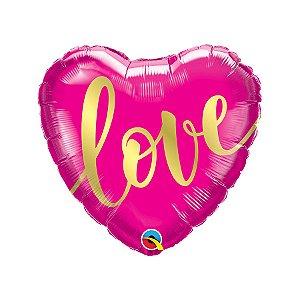 """Balão de Festa Microfoil 18"""" - Coração Love Rosa Ouro - 01 Unidade - Qualatex - Rizzo Embalagens"""