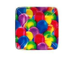 Prato 18Cm Quadr. R 60  Festa Baloes Novo 08 Unidades - Regina - Rizzo Festas