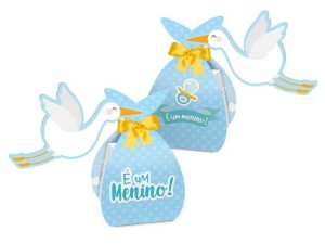 Caixa Surpresa Festa Cha de Bebe Menino 08 Unidades - Regina - Rizzo Festas