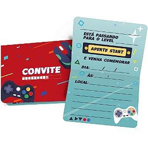 Convite Festa Games 12 Unidades - Regina - Rizzo Festas