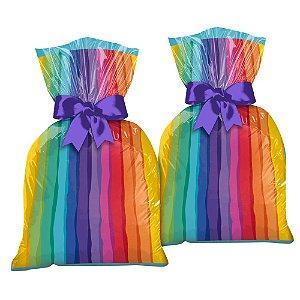 Sacola Plastica Festa Arco-Iris 12 Unidades - Regina - Rizzo Festas