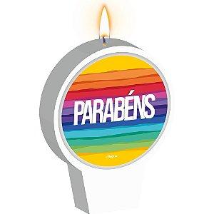 Vela Plana Adesivada Festa Arco-Iris 01 Unidade - Regina - Rizzo Festas