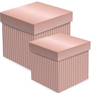 Caixa Cubo com Relevo Rosê Gold - 01 unidade - Cromus - Rizzo Embalagens