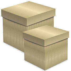 Caixa Cubo com Relevo Ouro - 01 unidade - Cromus - Rizzo Embalagens