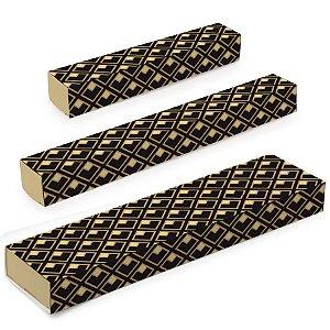 Caixa Luva para Doces - Jour Preto e Ouro - 10 unidades - Cromus - Rizzo Embalagens