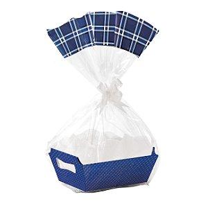 Kit Cesta De Papel Cartão Cristalino Azul Marinho - 01 unidade - Cromus - Rizzo Embalagens