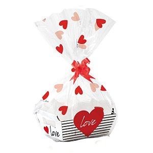 Kit Cesta De Papel Cartão Love - 01 unidade - Cromus - Rizzo Embalagens