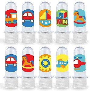 Mini Tubete Lembrancinha Festa Fábrica de Brinquedos - 8cm - 20 unidades - Transparente -  Rizzo Embalagens e Festas