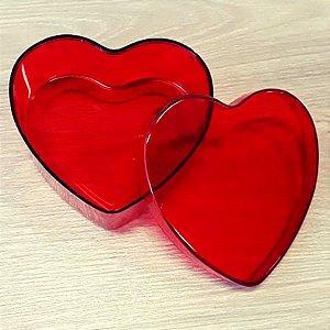 Coração de Acrílico Vermelho Grande 10cm x 10cm x 4cm - 06 unidades - Rizzo Embalagens
