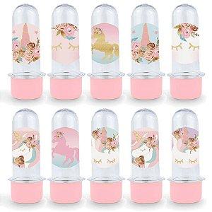 Mini Tubete Lembrancinha Festa Unicórnio - 8cm - 20 unidades - Rosa - Rizzo Embalagens e Festas