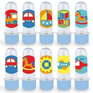 Mini Tubete Lembrancinha Festa Fábrica de Brinquedos - 8cm - 20 unidades - Azul -  Rizzo Embalagens e Festas