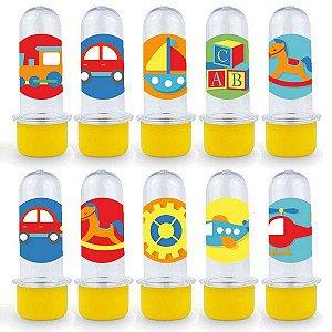 Mini Tubete Lembrancinha Festa Fábrica de Brinquedos - 8cm - 20 unidades - Amarelo -  Rizzo Embalagens e Festas