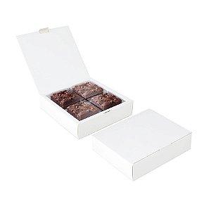 Caixa para 04 Brownies Branco 17x17x4cm - 10 unidades - Cromus Profissional - Rizzo