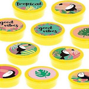 Latinha Lembrancinha Festa Tropical Tucano- 8cm - 20 unidades - Amarelo -  Rizzo Embalagens e Festas
