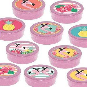 Latinha Lembrancinha Festa Tropical Flamingo - 8cm - 20 unidades - Rosa -  Rizzo Embalagens e Festas