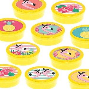 Latinha Lembrancinha Festa Tropical Flamingo - 8cm - 20 unidades - Amarelo -  Rizzo Embalagens e Festas