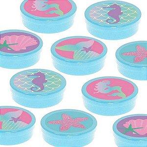 Latinha Lembrancinha Festa Sereia - 8cm - 20 unidades - Azul -  Rizzo Embalagens e Festas