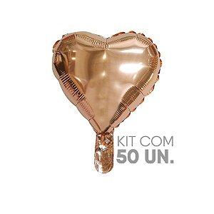 """Kit Balão de Festa Microfoil Coração Rose Gold - 9"""" - 50 Unidades - Rizzo"""