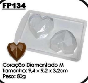 Forma Prática Coração Diamantado 200gr Mod. FP 134  Crystal Rizzo Embalagens