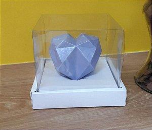 Caixa de Coração em pé 250gr 15x15x13 Branco - 05 unidades - Assk Rizzo Embalagens