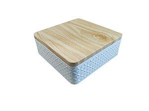 Lata Texturizada Quadrada Branca - 17x6 cm - 01 unidade - Rizzo Embalagens e Festas