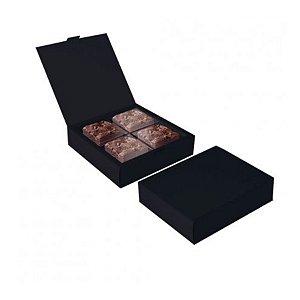 Caixa para 04 Brownies Preto 17x17x4cm - 10 unidades - Cromus Profissional - Rizzo