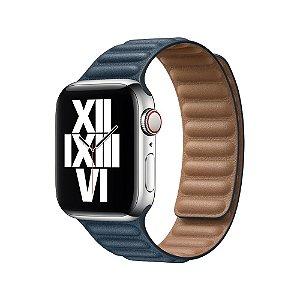 Pulseira Apple Watch Elos em Couro - Azul