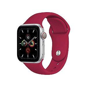 Pulseira Apple Watch Silicone - Rosa Vermelha