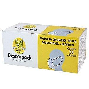 MÁSCARA CIRÚRGICA TRIPLA DESCARTÁVEL (50 UNIDADES) - DESCARPACK