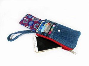Carteira Jeans Porta Celular e Cartões