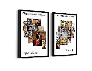 Quadro Personalizado Coração Casal 03 Com Sua Foto e Sua Frase