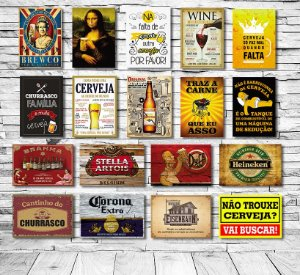Placas Decorativas Vintage Bebidas