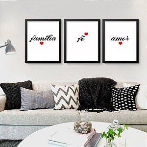 Kit 3 Quadros Decorativos Família Fé Amor