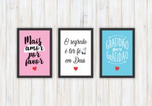 Quadros Decorativos Mais Amor, Fé, Gratidão