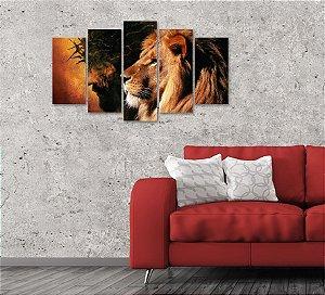 Quadro Grande 5 peças Leão e Jesus