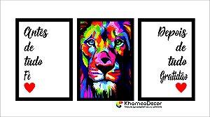 Kit 3 Quadros Decorativos Antes de Tudo Fé Depois de tudo Gratidão Leão