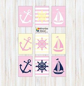 Placa Decorativas Infantil Âncora barquinho Timão de Navio
