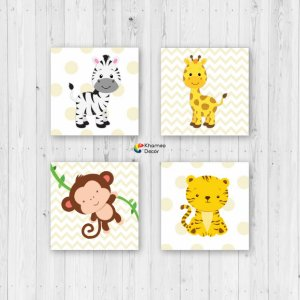 Kit 4 Placas Decorativas Animais Infantil
