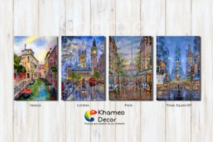 Kit 4 Placas Decorativas Cidades Estilo Pintura