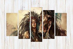 Quadro 5 Peças Índia Cavalo