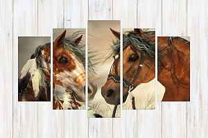 Quadro 5 Peças Cavalos