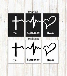 Kit 3 Placas Fé Esperança Amor