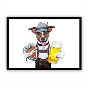 Quadro decorativo Cachorro cerveja engraçado