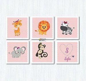 Kit 6 Quadros Com Nome da Criança Animais Quarto Infantil